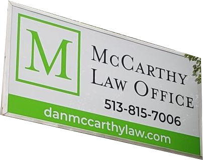 Contact McCarthy Law Office Sign on Blog page